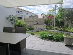 Gartengestaltung Terrasse Gabione Teich