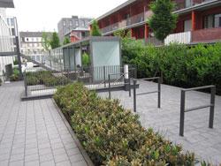 Gewerbliche Außenanlage Bepflanzung Gestaltung Fahrrad