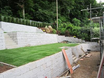Böschung Hangverbau Trockenmauer Hang