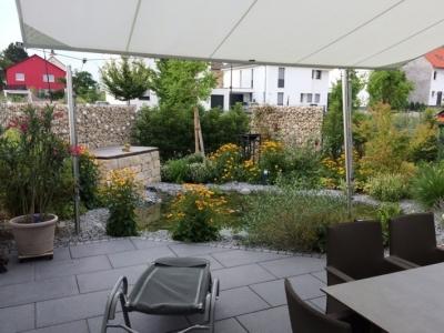 Teich Garten Sitzplatz sichtschutz Zaungabionen