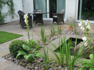 Wasserspiel Garten Wasser Bepflanzung